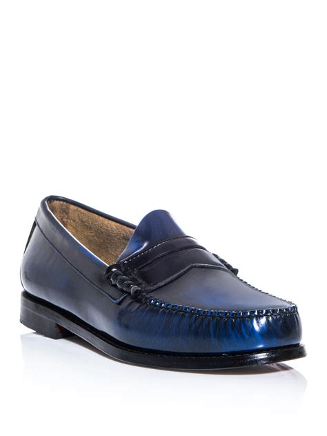 bass mens loafers g h bass co larson loafers in blue for black lyst