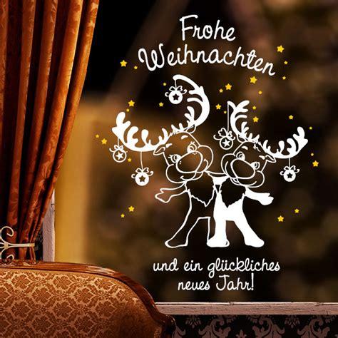 Lustige Fensteraufkleber by Fensteraufkleber Elche Quot Frohe Weihnachten Quot 2farbig
