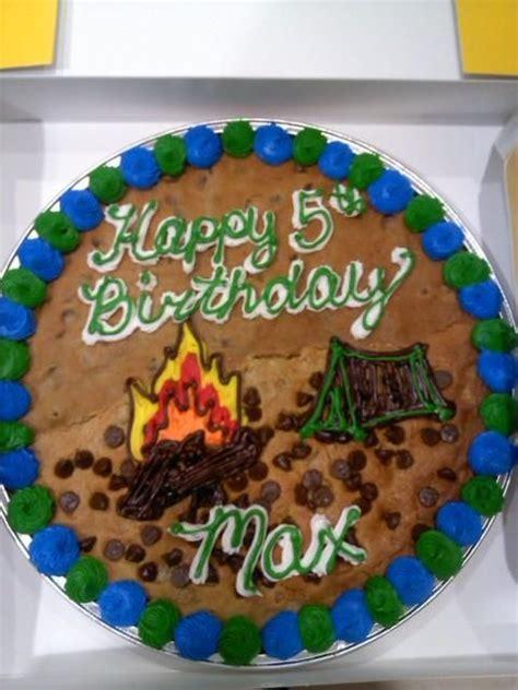 camping theme birthday cookie cake jacks camping bday cookie cake birthday giant cookie