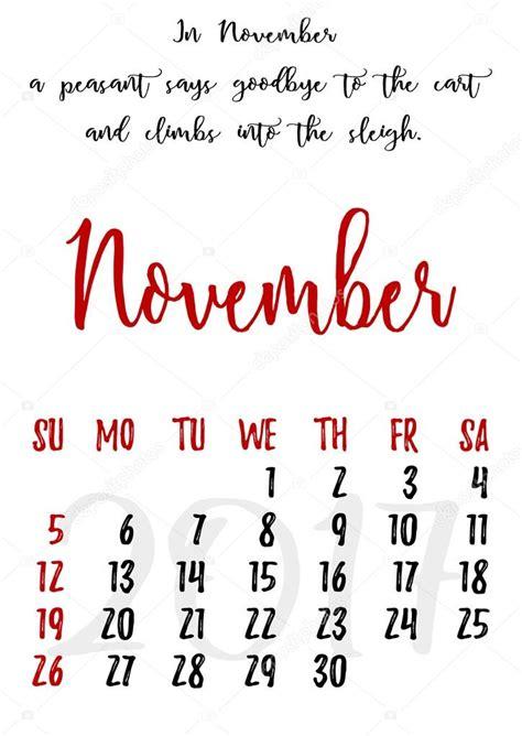 Calendario Novembro 2017 Grade De Calend 225 Letras Para 2017 Novembro De