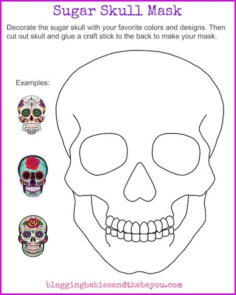 blank sugar skull template bilingual dia de los muertos day of the dead printable