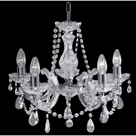 Glass Chandelier Uk Therese Chandelier On Chrome Frame With 5 Candle Lights