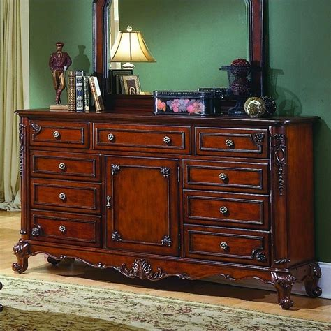 cherry triple dresser bedroom trent home madaleine triple dresser in antique cherry 1385 5