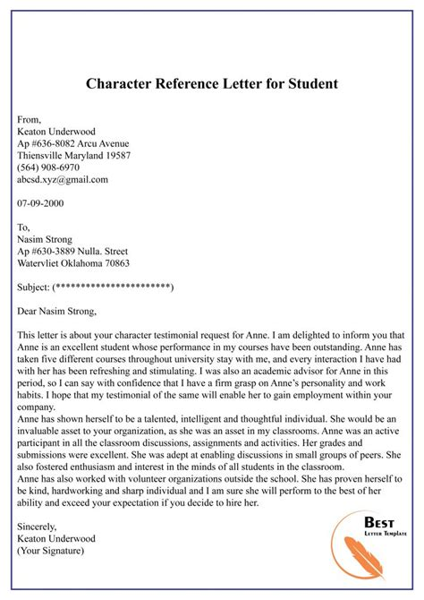 character reference letter template format sample