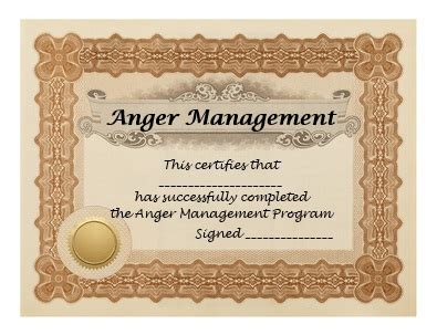 anger management certificate template anger management programs