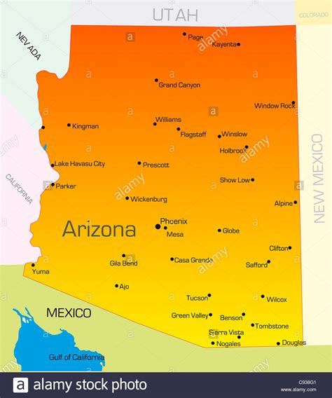 arizona state in usa map vector color map of arizona state usa stock photo