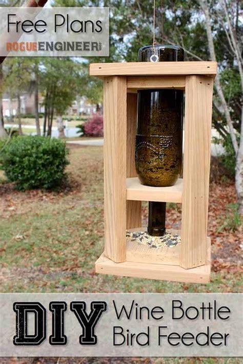wine bottle bird feeder  diy plans rogue engineer