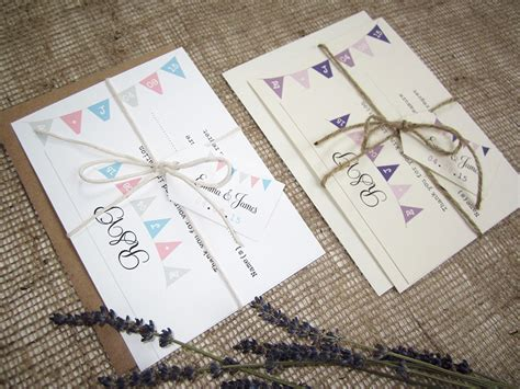bunting wedding stationery uk rustic bunting wedding invitation with rsvp twine and tag