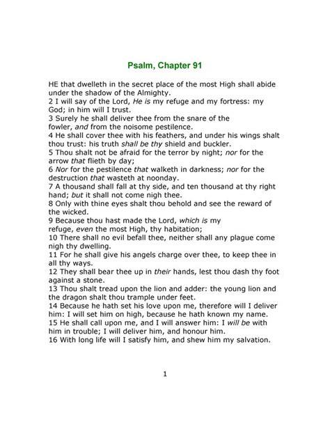printable version psalm 91 psalm chapter 91 page 1 note this kjv pce of 1611 is