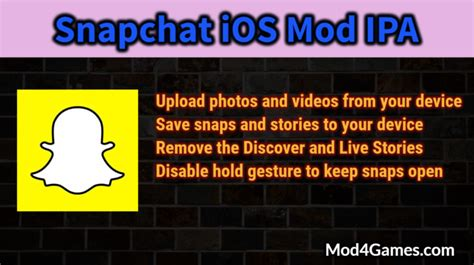 x mod game sans jailbreak snapchat ios mod ipa upload from device save snaps