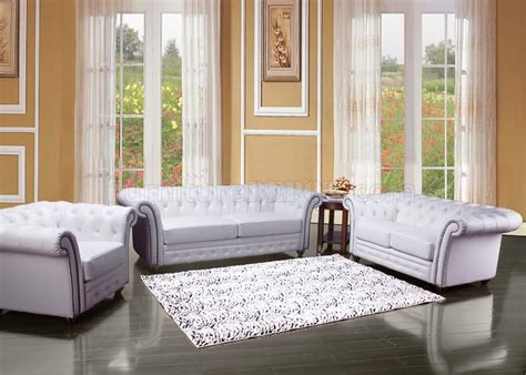 White Leather Living Room Chair - 50165 camden sofa in white bonded leather by acme w options