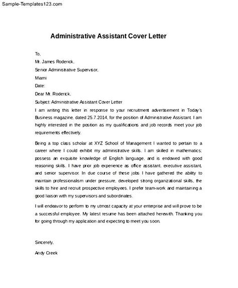 executive assistant cover letter exle simple administrative assistant cover letter exle