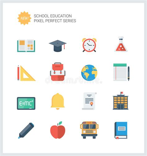 pixel 2 learning the essentials books pixel education items flat icons set stock vector