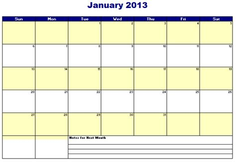 free 2013 monthly calendar templates