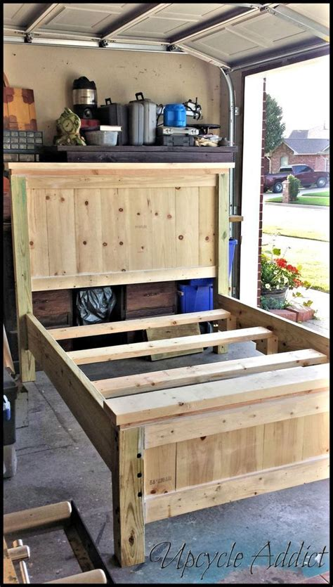 farmhouse bed full size diy bed frame built  bed