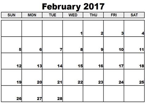 Calendar For Feb 2017 2017 February Calendar