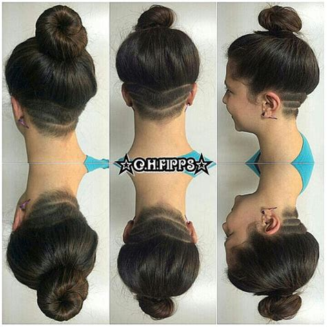 shave the women hair under pantes in salon shaved undercut designs with twisted bun shaved undercut d
