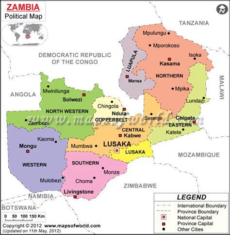 printable map of lusaka political map of zambia zambia provinces map