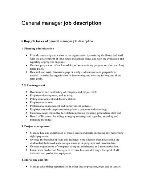 general manager description