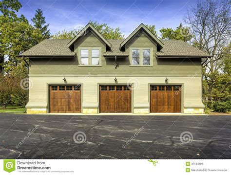how big is a 3 car garage large american three door car garage stock photo image