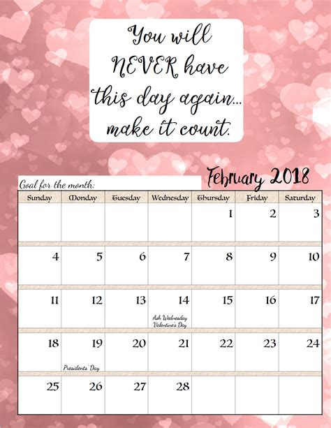 printable quotes calendar free printable 2018 monthly motivational calendars