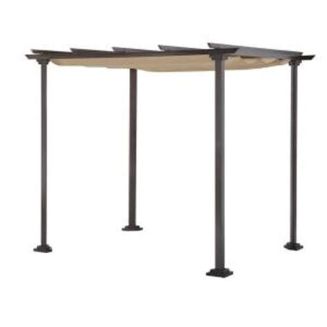 home depot steel pergola hton bay toulon 10 ft x 8 ft steel pergola gazebo with flat roof 5lgz1319 80 the home depot