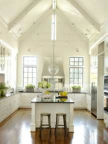 Kitchen Lighting On Vaulted Ceilings A Vaulted Ceiling And Bead Board Reinforce The Country