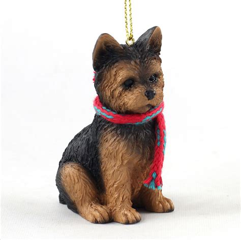 yorkie dog christmas ornament scarf figurine puppy cut ebay