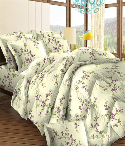 bombay dyeing white purple floral cotton bed