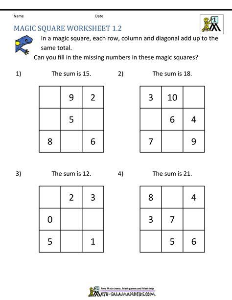 Math Practice Grades 1 2 magic square worksheets