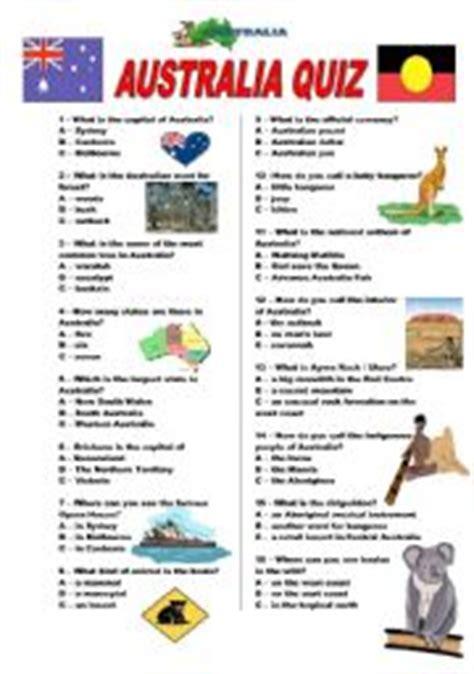 printable quiz about australia english teaching worksheets australia