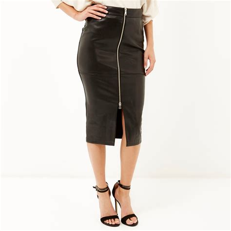 river island black leather look zip up pencil skirt in