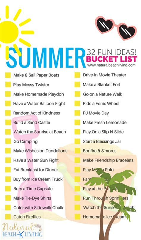awesome summer list ideas for free printable