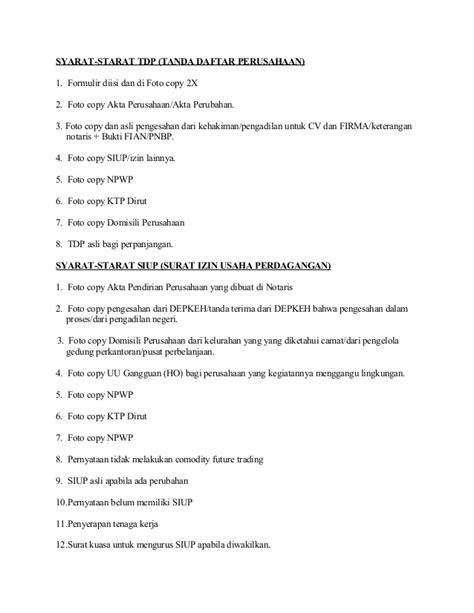 syarat untuk membuat surat keterangan domisili syarat pembuatan siup dan tdp