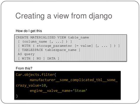 django creating new object materialized views and django