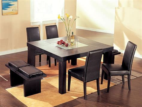 set dining room table contemporary wenge wood middle frosted glass dining table