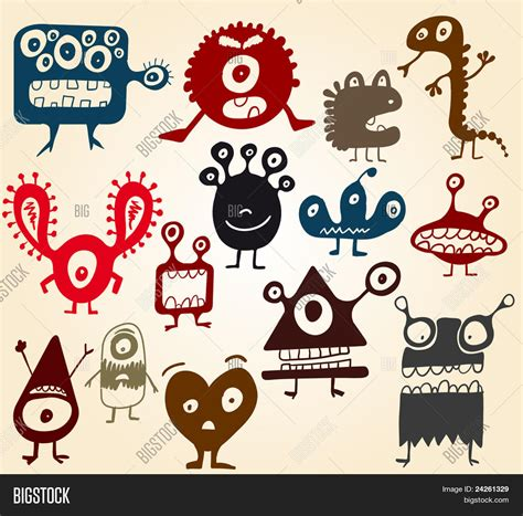 many doodle monsters vector many doodle monsters vector photo bigstock