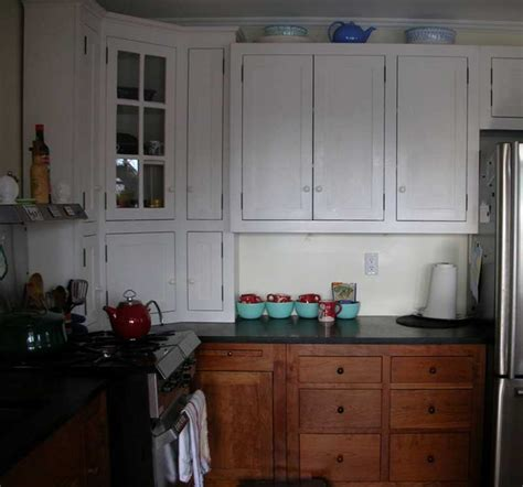 Painted And Stained Kitchen Cabinets Small Cherry White Painted Kitchen Branch Hill Joinery