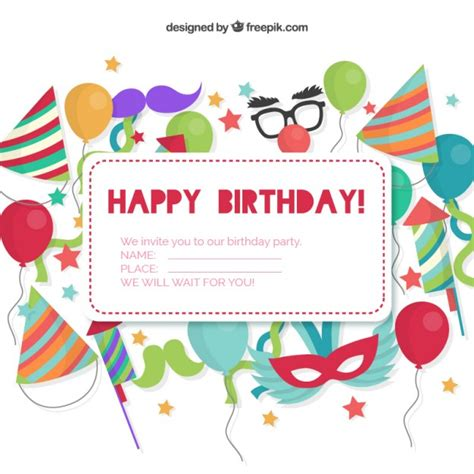 free printable birthday invitations without downloads birthday invitation card vector free download