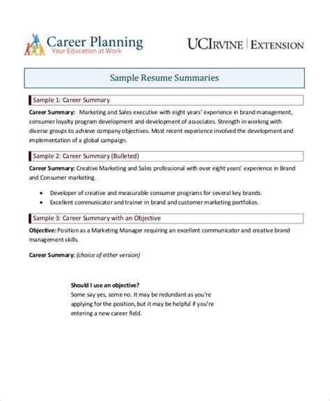 Resume Career Summary by 9 Career Summary Exles Pdf