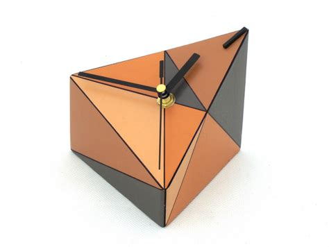 Triangle Desk by Desk Clock Wood Clock Geometric Table Clock Triangle
