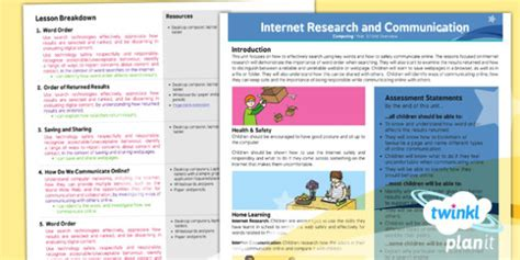 brochure template year 3 computing internet research and communication year 3 planning