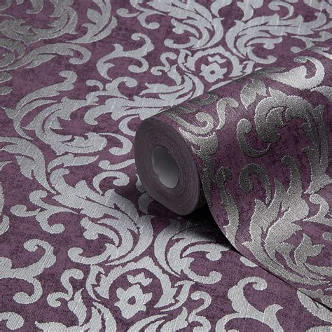 Cabinets For The Kitchen by Graham Amp Brown Drama Purple Damask Metallic Wallpaper