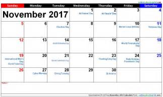 Calendar November 2017 With Holidays November Calendar 2017 With Holidays 187 Calendar Template 2017