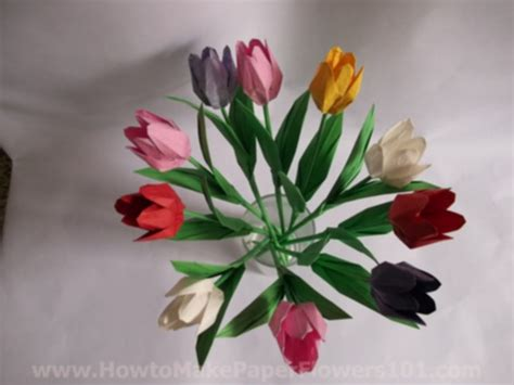 Tulip Flower Origami - origami tulip flower with stem how to make paper flowers