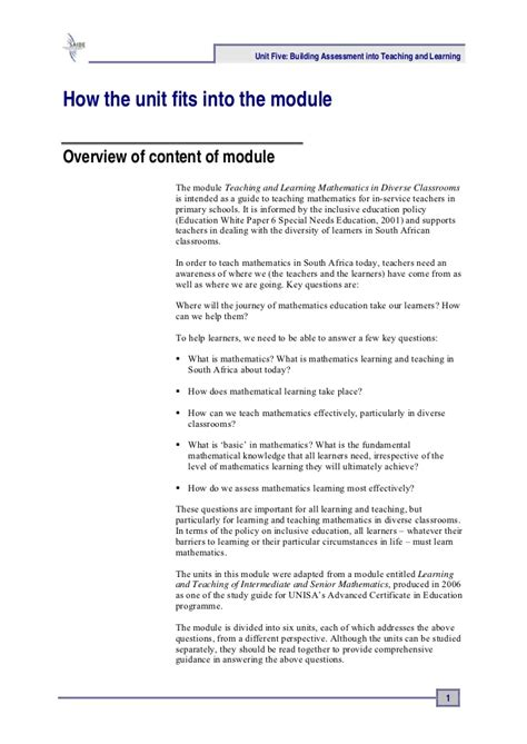 lesson plan template unisa ace maths unit five assessment into teaching and learning