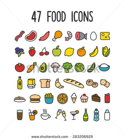 doodle food icons carrot cake stock illustrations