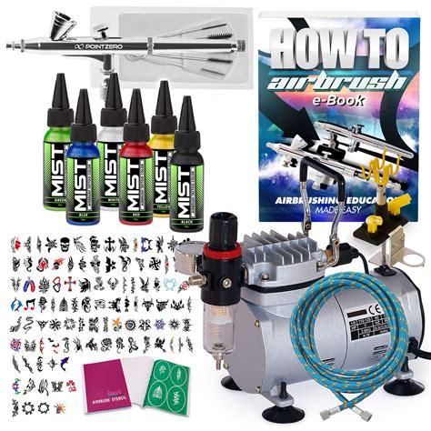 airbrush tattoo kit ebay temporary tattoo airbrush kit 6 color set with
