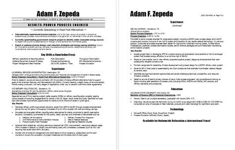 Resume Template Career Advice Process Engineer Resume Sle
