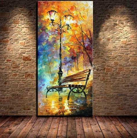 park bench painting hand painted abstract park bench night landscape knife